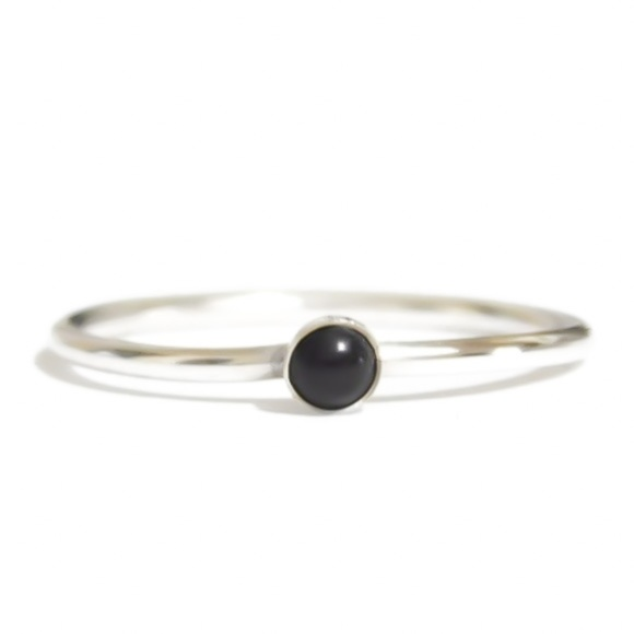 Moodtherapy Jewelry - 925 Sterling Silver Genuine Onyx Ring